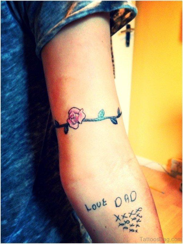 Pretty Rose Band Tattoo Design