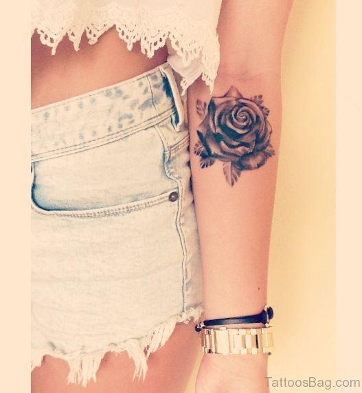 Pretty Rose Tattoo On Arm