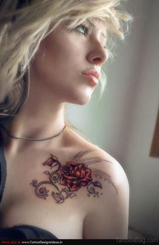 Pretty Rose Tattoo On Chest