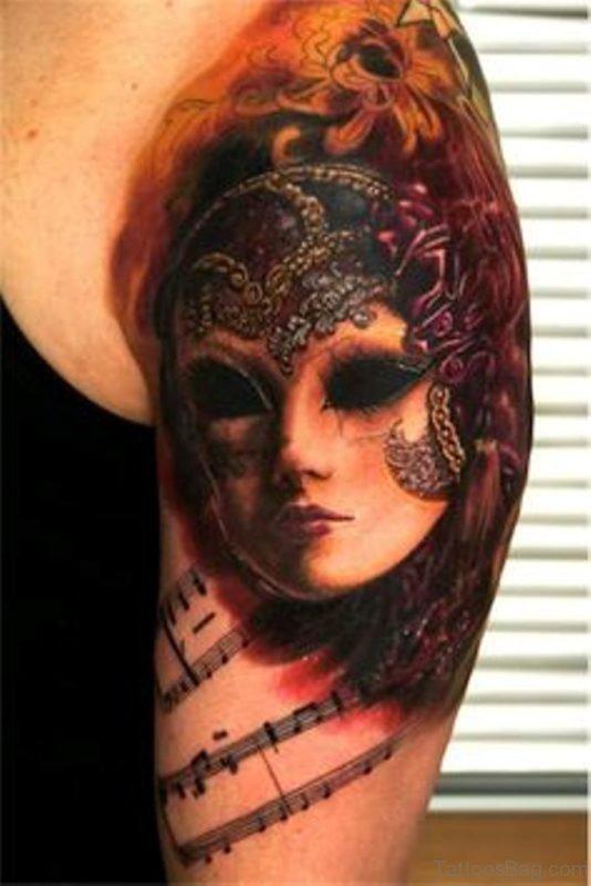 Pretty Venetian Mask Tattoo