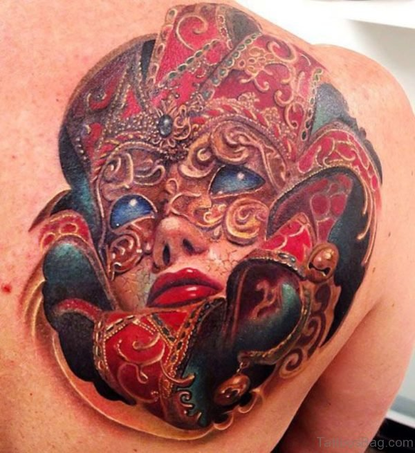 Pretty Venetian Mask Tattoo On Back Shoulder