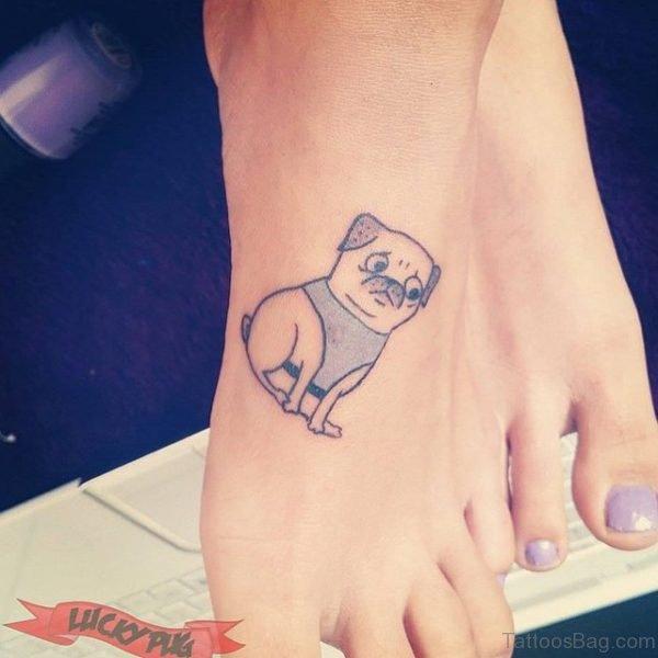 Pug Tattoo On Foot
