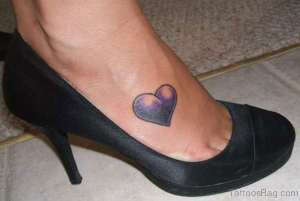 Purple Heart Tattoo On Foot