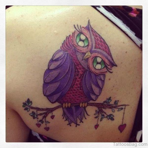 Purple Owl tattoo On Shoulder