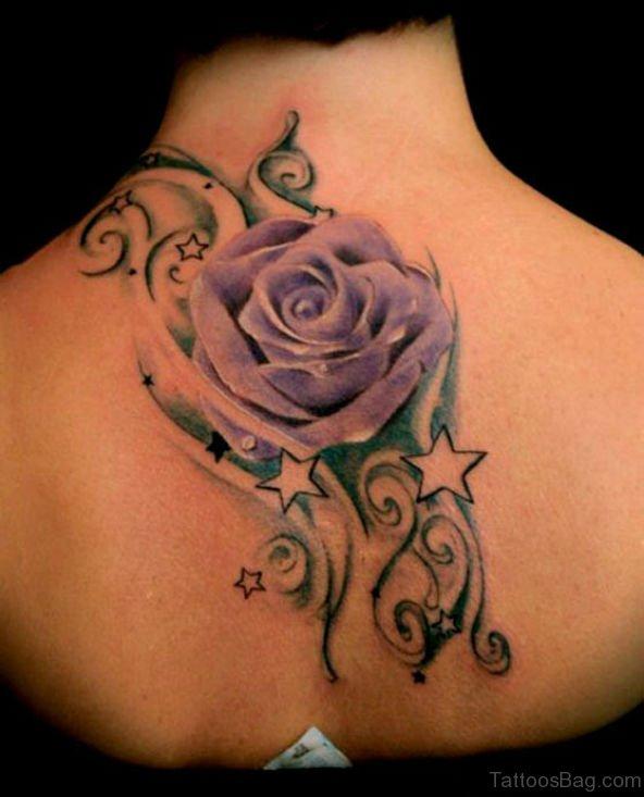 Purple Rose Tattoo Design On back