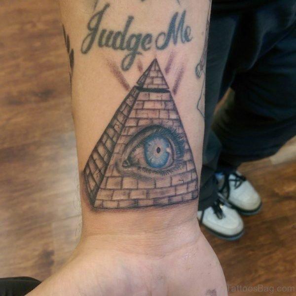 Pyramind Eye Tattoo On Wrist
