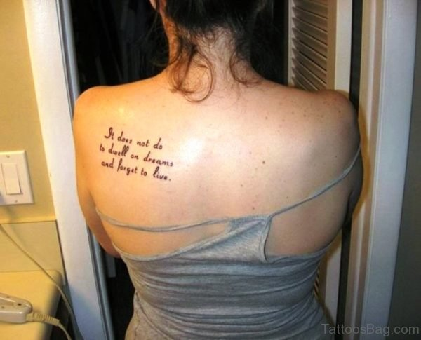 Quotes Tattoo On Back Shoulder