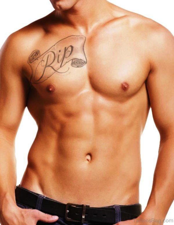 13 best scroll tattoos on chest for Simple chest tattoos for guys