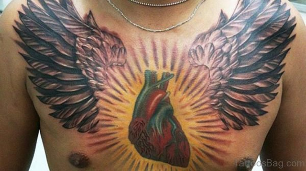 Real Heart With Wings Tattoo On Man Chest