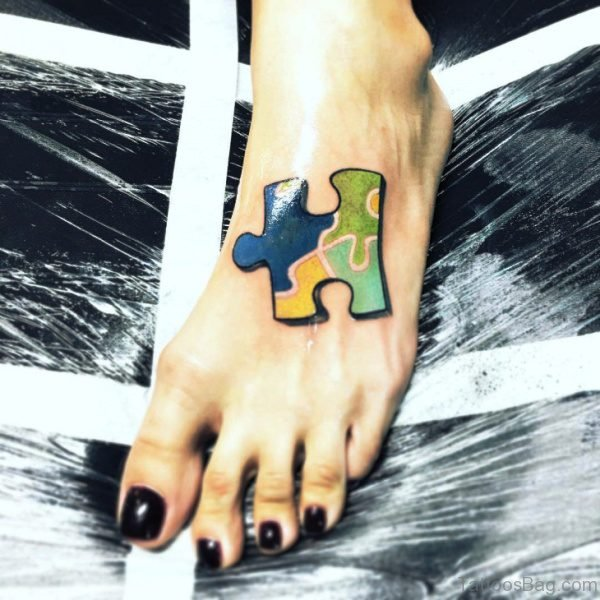 Realistic Autism Tattoo On Foot