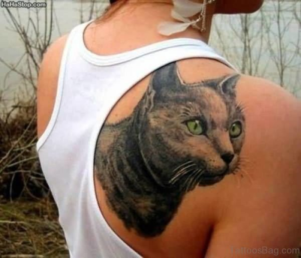 Realistic Cat Head Tattoo On Shoulder