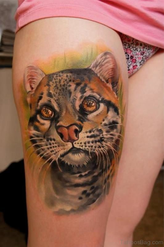 Realistic Cat Thigh Tattoo