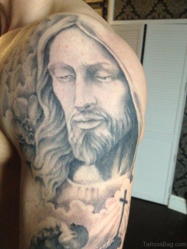 Realistic Christian Jesus Tattoo Design On Shoulder