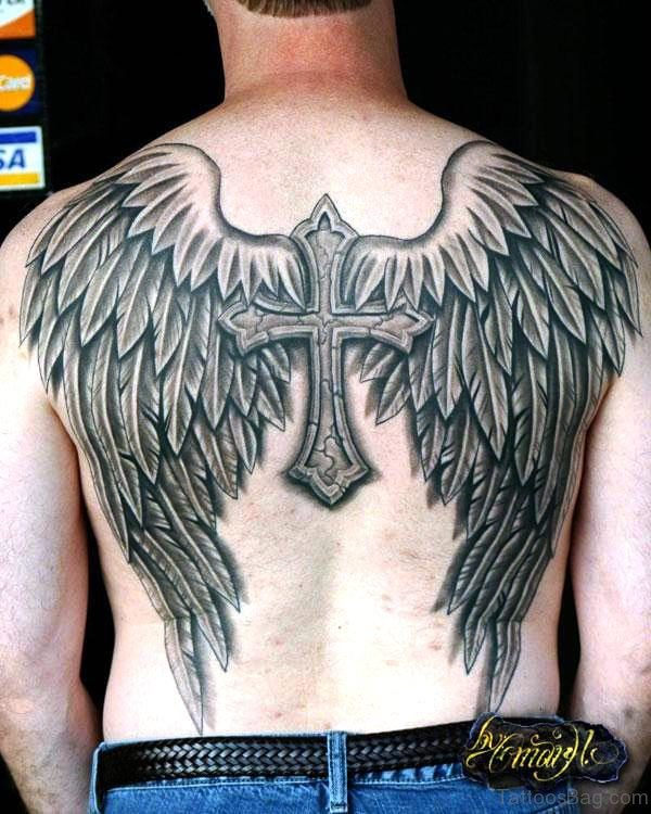 Realistic Cross With Winged Tattoo