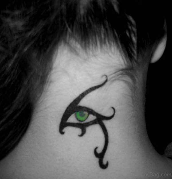 Realistic Eye Tattoo On Neck Back