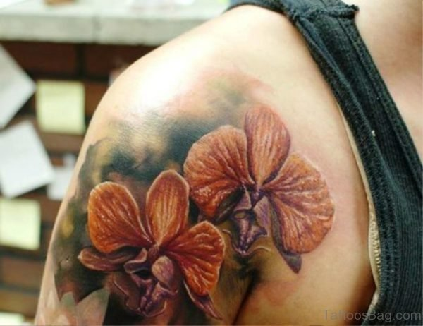 Realistic Flowers Tattoo On Shoulder