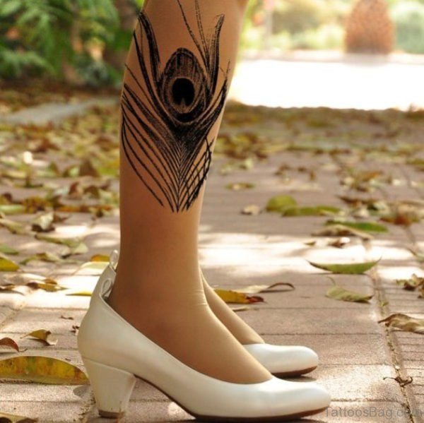 Realistic Peacock Feather Tattoo On Leg