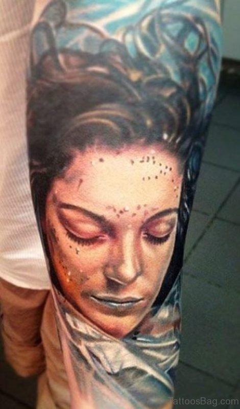 Realistic Portrait Tattoo On Full Sleeve
