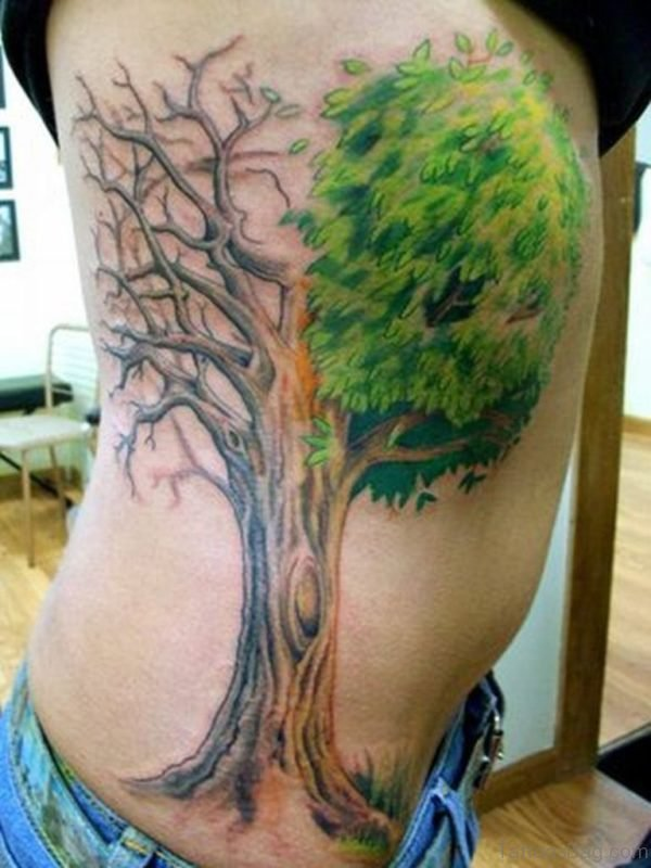Realistic Rib Tree Tattoo