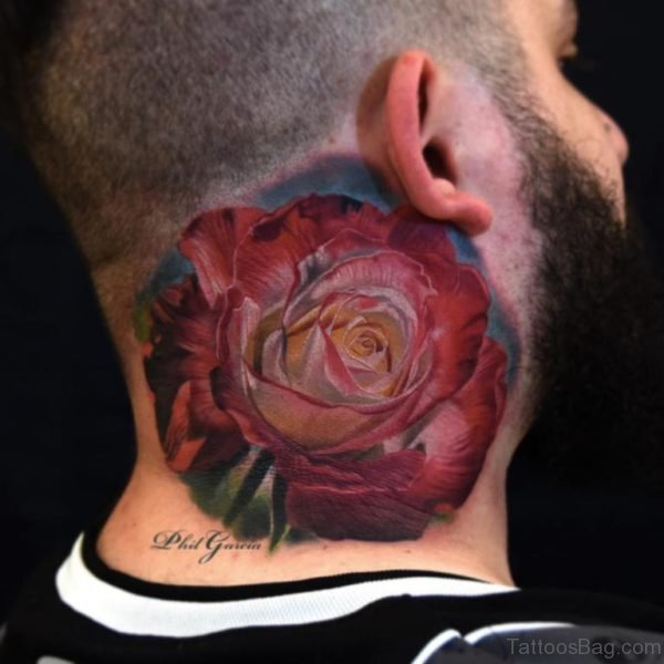 Realistic Rose Tattoo On Man Neck