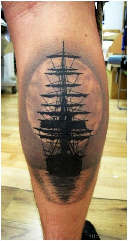 Realistic Sailing Ship Tattoo On Calf
