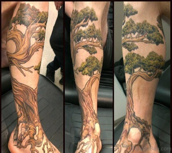 Realistic Tree Leg Sleeve Tattoo