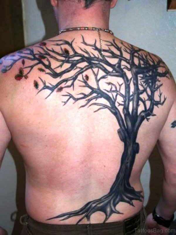 Realistic Tree Tattoo On Back