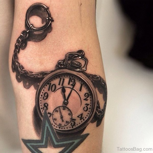 Realistic Watch Tattoo On Arm
