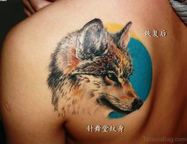 Realistic Wolf Tattoo On Shoulder