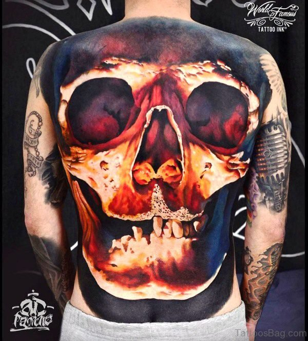 Red And Black Skull Tattoo On Back