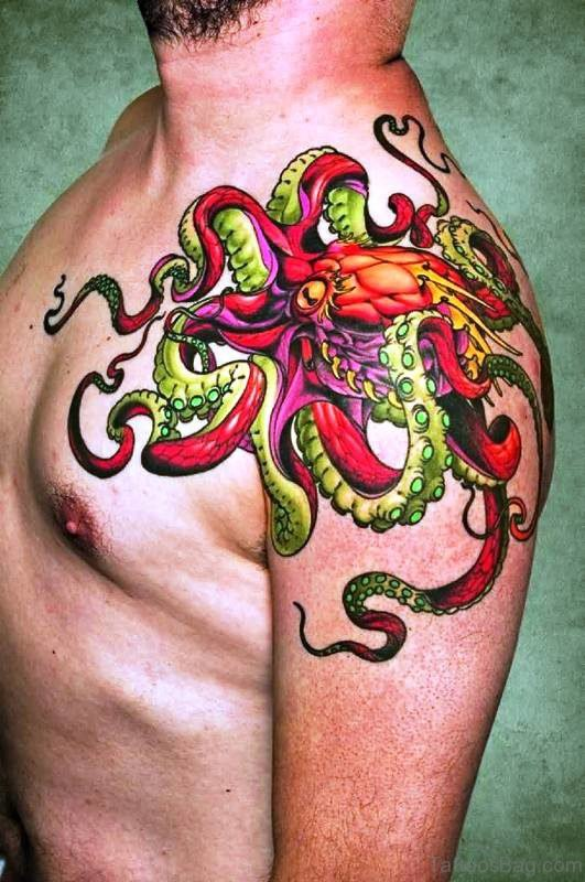 Red And Green Octopus Tattoo On Shoulder