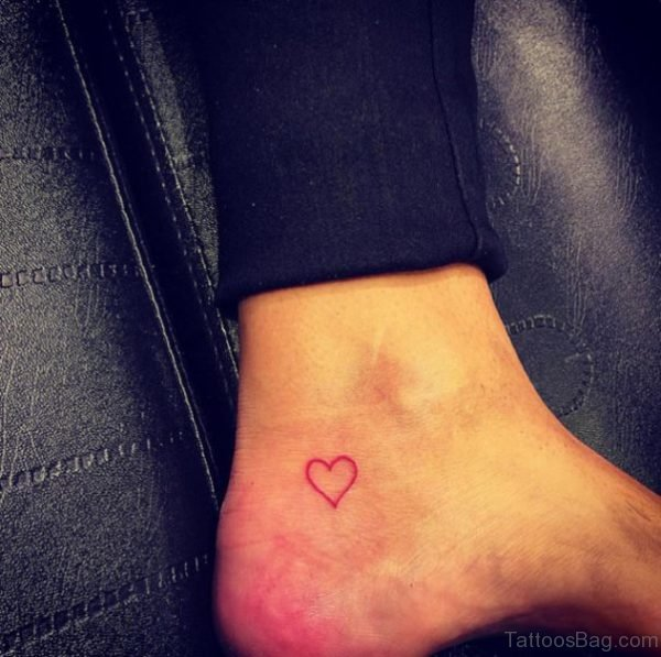 Red Ankle Heart Tattoo