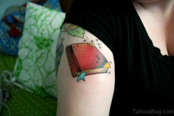 Red Book Tattoo On Shoulder