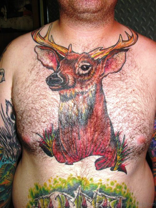 Red Buck Tattoo On Chest