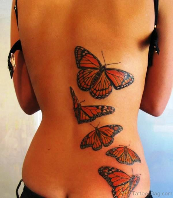 Red Butterflies Tattoo On Back