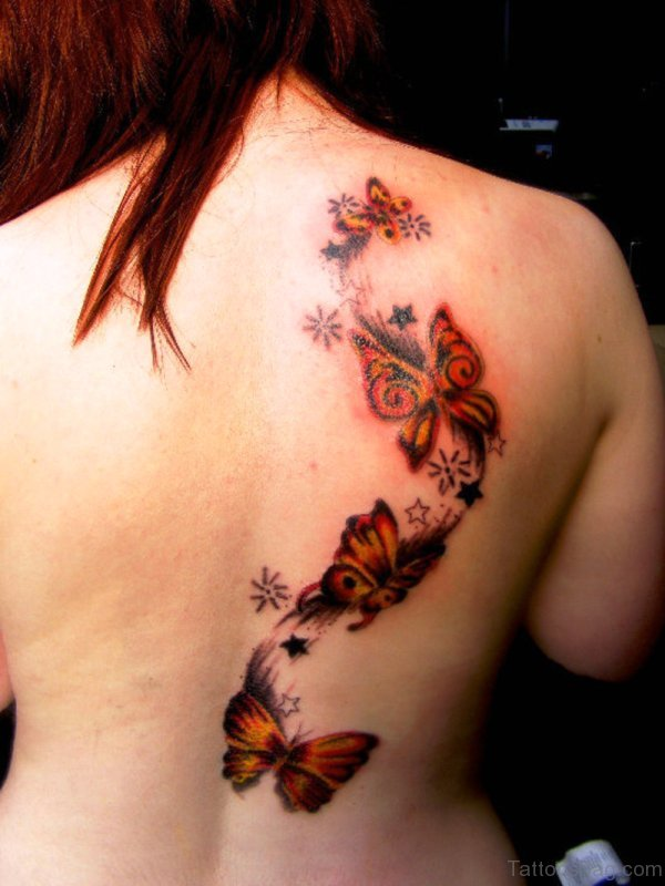 Red Butterflies Tattoo On Back Shoulder
