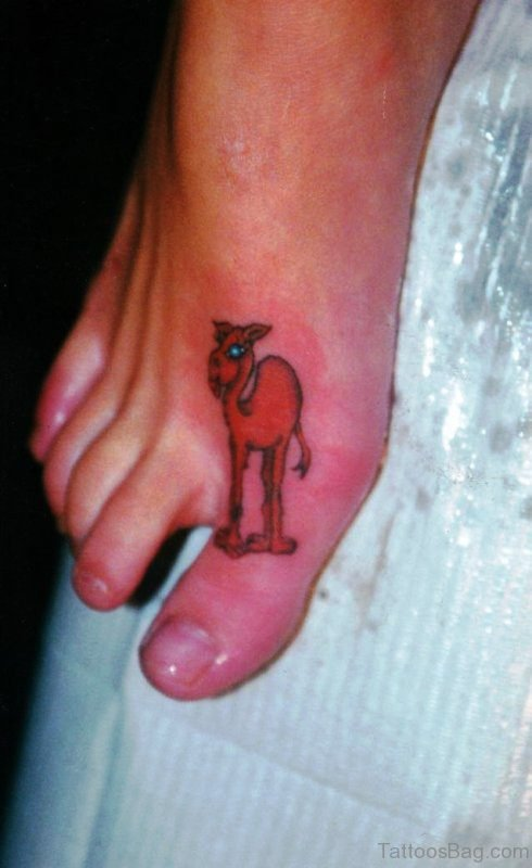 Red Camel Tattoo On Toe