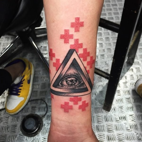 Red Cross And Eye Tattoo