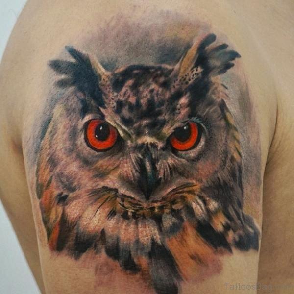 Red Eye Owl Tattoo On Shoulder