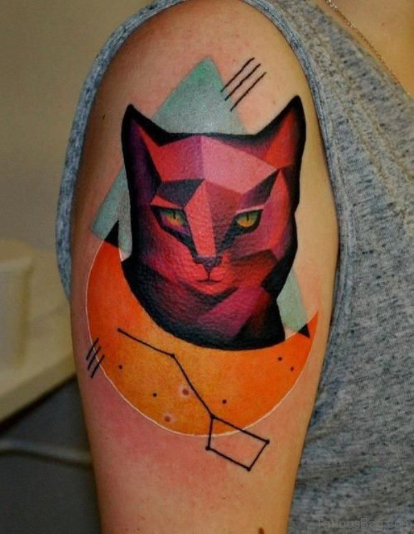 Red Face Cat Tattoo On Shoulder
