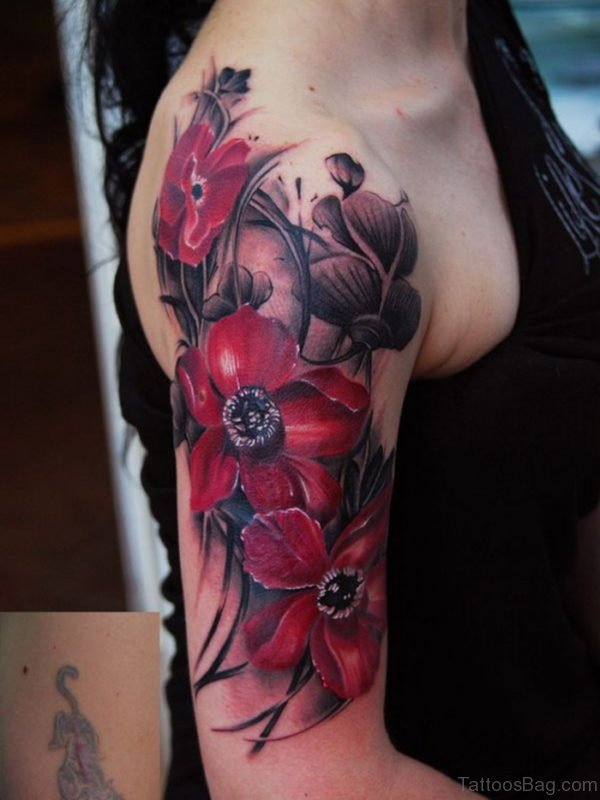 Red Flower Tattoo On Shoulder