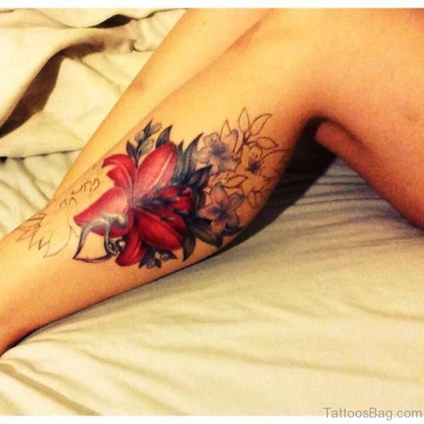 Red Flowers Tattoo On Calf