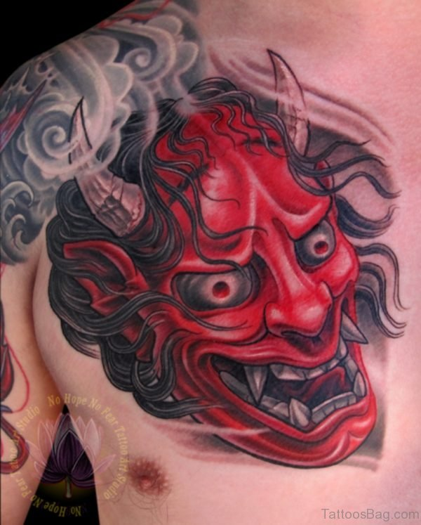 Red Hannya Mask Tattoo On Chest