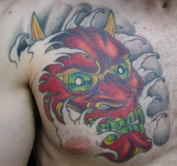 Red Hannya Mask Tattoo On Chest Image
