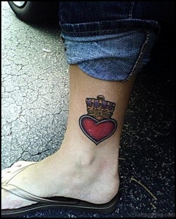 Red Heart Crown Tattoo