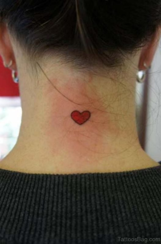 Red Heart Nape Tattoo