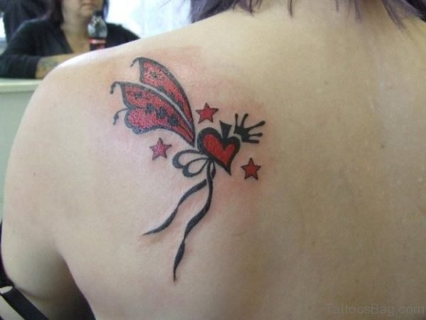 Red Heart Tattoo On Back