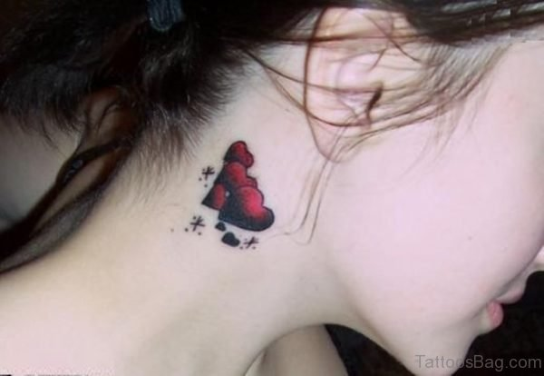 Red Heart Tattoo On Nape