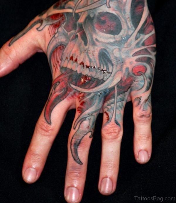 Red Ink Skull Tattoo