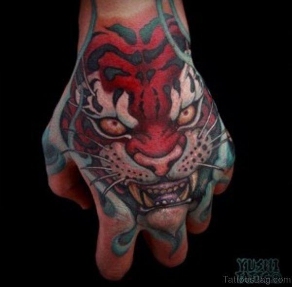 Red Ink Tiger Tattoo